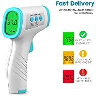 Forehead Thermometer - Digital Infrared Thermometer Non-Contact,Professional Precision Digital Thermometer for Baby Kids and Adults,˚C / ˚F Adjustable with Fever Alert Function (Fast Delivery)