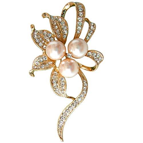 Navachi 18k Gold Plated Pearl Crystal Flower Leaves Az7626b Brooch pin