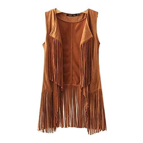 New Tassels Fringe Sleeveless Suede Vest Cardigan Waistcoat Jacket Outwear Tops (XL, Khaki)