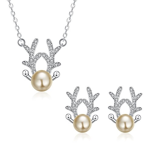 iCAREu Silver Plated Zircon Pearl Deer Antler Necklace, Stud Earrings for Women Girls, 18