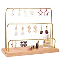 handrong Earring Holder Stand 3 Tier Earrings Organizer Tree Metal Jewelry Table Top Display Rack Cosmetic Tabletop Tray Necklaces Rings Bracelets Watches Hanging Storage Tower for Women Girls, Gold
