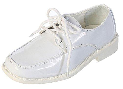 Patent Moc (DressForLess Boys Moc Toe Dress Shoes, White, Y3)