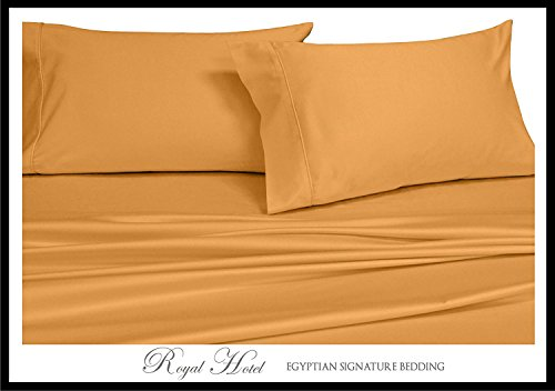Royal Hotel's Solid Gold 600-Thread-Count 4pc King Bed Sheet Set 100-Percent Cotton, Sateen Solid, Deep Pocket (Royal Hotel Bedding King)