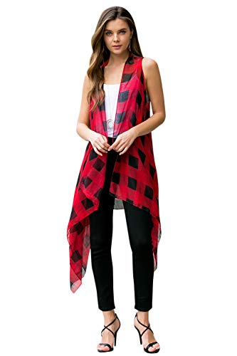 Lightweight Shawl Long Vest Sleeveless Drape Open Kimono Cardigan - Casual Versatile Cover Wrap Buffalo Plaid Check Print (Red Black) - Accessories Plaid