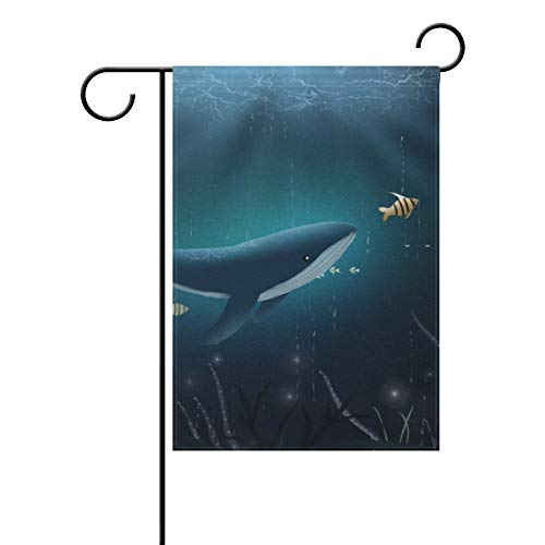 Chic Houses Cute Animal Theme Ocean Seriess Outdoor Garden Flags Whale Fish Coral Water Grass in Sea Vertical Double Sided Home Decorative House Yard Sign 28 x 40 Inch 2030794