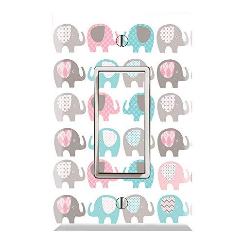 Graphics Wallplates - Elephant Nursery - Single Rocker/GFCI Outlet Wall Plate Cover