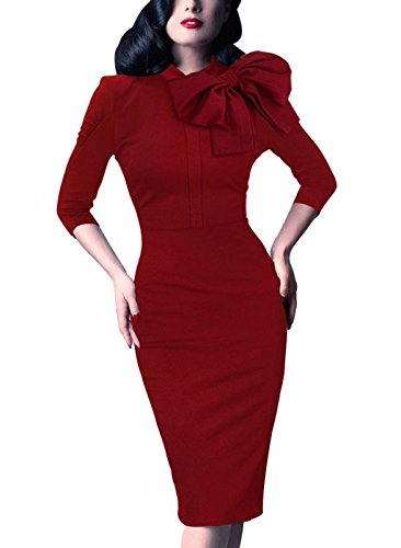 (Women's 1950s Retro 3/4 Sleeve Bow Cocktail Party Evening Dress Work Pencil Dress Red XX-Large)