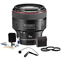 Canon EF 85mm f/1.2L II USM AutoFocus Telephoto Lens Kit, - USA - with Tiffen 72mm Photo Essentials Filter Kit, Lens Cap Leash, Professional Lens Cleaning Kit,