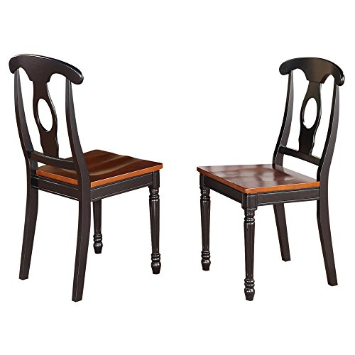 East West Furniture Kenley Napoleon Dining Chair with Wooden Seat - Set of 2 - Black / Cherry