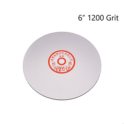 Sydien 6 inch 1200 Grit Electroplated Diamond Lapidary Faceting Flat Lap Disc(1200Grit)