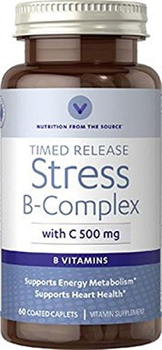Vitamin World Stress B-Complex with C-500mg Supports Energy Metabolism 60 Coated Caplets