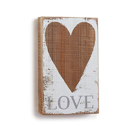 DEMDACO Love Heart, Small 5 x 8.5 Fir Solid Wood Plank Painted Wall Art -