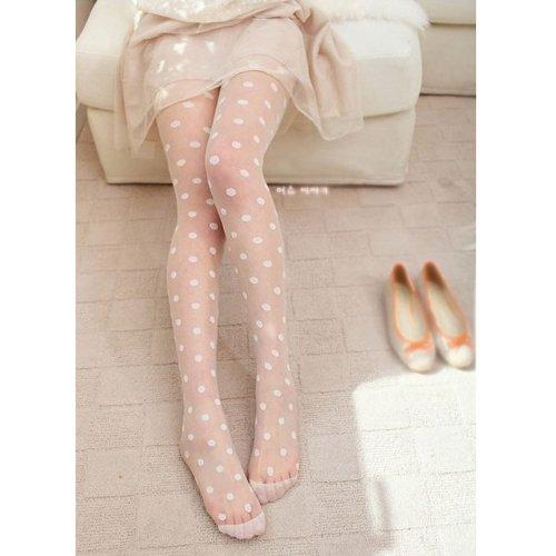 HuaYang Sexy sheer Lace Big dot Pantyhose Socks Stockings Tights Dot Leggings Slim BW(White)