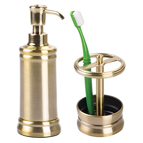 mDesign Bathroom Accessory Set for Vanity, Soap Dispenser, Toothbrush Holder - Set of 2, Soft ()