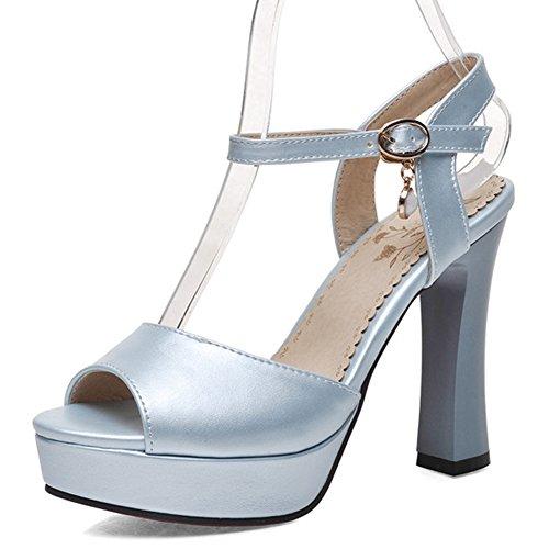 Easemax Kvinna Peep Toe Dressat Chunky Hög Klack Buck Plattform Sandaler Med Ankelbandet Blå