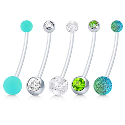 Pregnancy Navel Rings - JFORYOU Pregnancy Belly Button Ring Flexible Long Navel Piercing Retainer 14G, 1 1/2 Inch 38mm length Maternity Body Piercing Jewelry