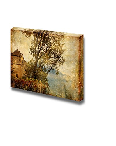 wall26 - Canvas Prints Wall Art - Swiss Castle - Artwork in Painting Style | Modern Wall Decor/Home Decoration Stretched Gallery Canvas Wrap Giclee Print. Ready to Hang - 24