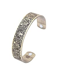 VASSAGO Vintage Amulet Nordic Myth Yggdrasil Tree of Life Ravens Birds Magnetic Health Cuff Bracelet for Men Women