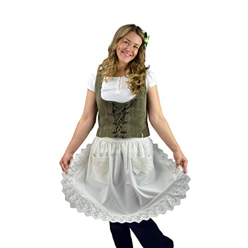 Essence of Europe Gifts E.H.G Deluxe Vintage Lace Waist Apron For Women | Victorian Maid Costume | Half Apron Kitchen Party | Two Pockets | Ecru | Beige ()