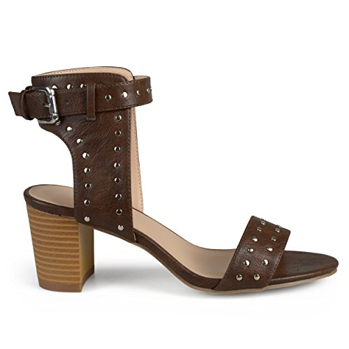 Brinley Co. Womens Faux Leather Studded Ankle Strap High Heels Brown, 8 Regular US - High Quality Faux Leather