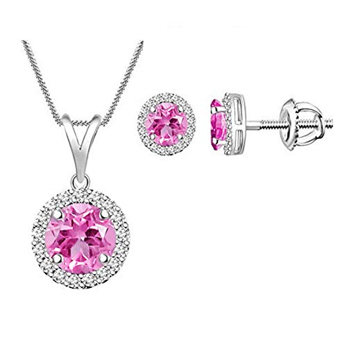 Simulated Pink Sapphire Halo Round Pendant Necklace & Earrings Sets - Wedding Jewelry for Brides 14k White Gold Plated