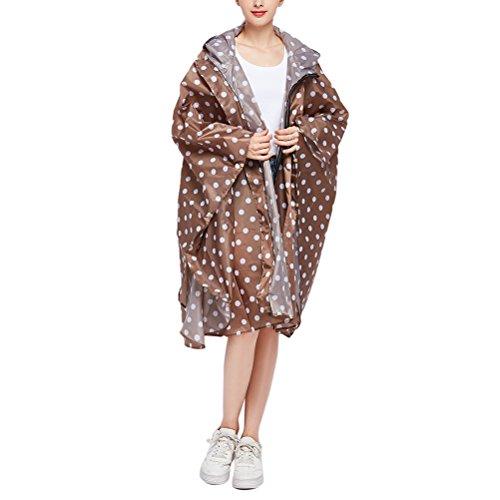Avec Poncho De Pluie Pour Poche Femmes Zipper Pliable Zhuhaitf Dames Mode Imperméable Veste Longer Portable Brown KaYBtBwqFg