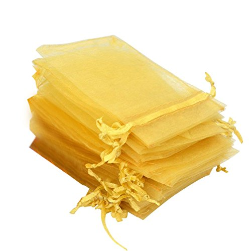 Rbenxia 100 Pcs Drawstring Organza Pouches 4 by 6 Inches Jewelry Favor Pouch Bags Wedding Party Festival Gift Candy Bag Color Gold