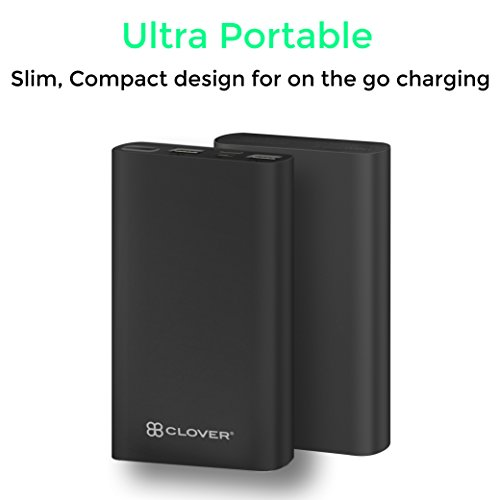 Clover Powersurge 15000mAh Portable Power Bank External Battery Charger, Ultra Slim Design with 2 USB Ports for iPhone7 Plus 6s 6 Plus, iPad, Samsung Galaxy and More (Black)