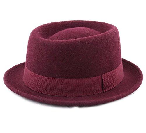 Classic Italy Porkpie Wool Felt Pork Pie Hat Size 57 cm (Wool Felt Pork Pie Hat)