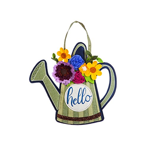 Evergreen Flag Floral Watering Can  Floral Burlap Wall Hanging