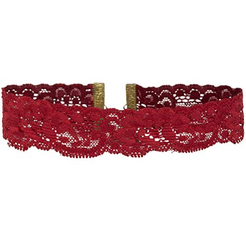 (Twilight's Fancy Floral Elastic Stretch Lace Choker Necklace (Red, Large) )