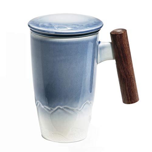 SULIVES Taza de Te Porcelana Mug Infusion con Filtro y Tapa Mango de madera 400ml (azul)