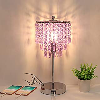 USB Bedside Lamp, 3-Way Dimmable Touch Table Lamp with Dual USB Charging Ports, Lavender Crystal Lamp Decorative Accent Lamp with Silver Base for Bedroom, Living Room, Office, B11 LED Bulb Included
