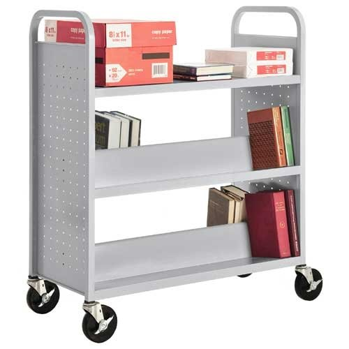 Sandusky Lee Welded Book Truck - 37X18x48'' - 1 Flat Bottom Shelf,2 Double-Sided Slopping Shelves - Light Gray - Light Gray by Sandusky Lee