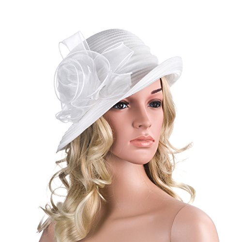 Pure Color 1920s Womens Summer Organza Bowler Sun Hat Derby Tea Party A267 (White)
