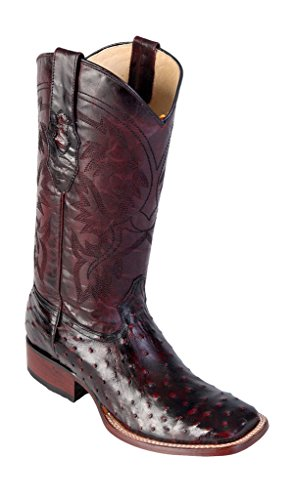 Men's Wide Square Toe Black Cherry Genuine Leather Ostrich Skin Western Boots -