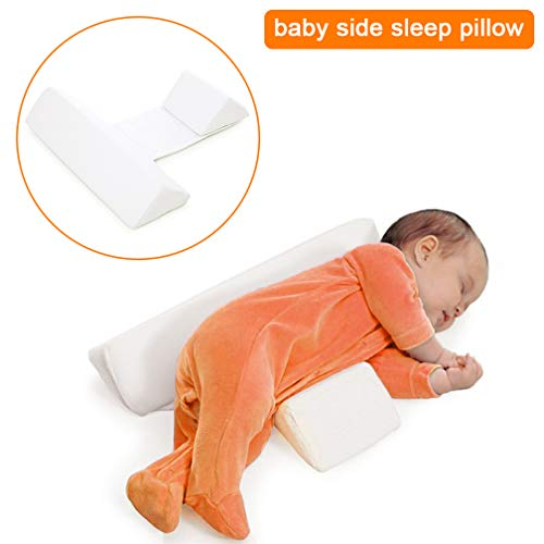 - White Newborns Baby Side Sleep Pillow - Maveek Scientific Orthopedic Design Anti-Polarity Head Pillow, Toddlers Safer Sleep Nursing Pillow