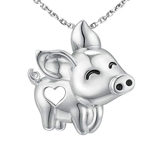 MANBU Pig Necklace Cute Animal Jewelry - 925 Sterling Silver Pig Heart Pendant for Girls Kids Women Ladies