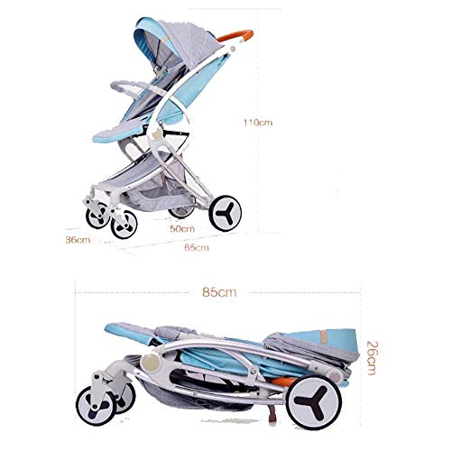 PLDDY Standard Kids Pram Pushchairs Travel System 3 in 1 Combi Stroller Buggy Baby Child Pushchair Net Holder Foldable (Color : Blue)