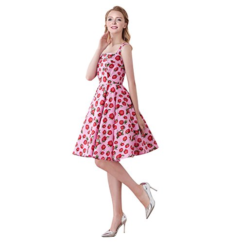 Dotted Dress Front (FiftiesChic Shoulder Straps 100% Cotton Polka Dot Floral 50s Vintage Rockabilly Swing Dress (M (US4-6), Pink Dotted Strawberries))