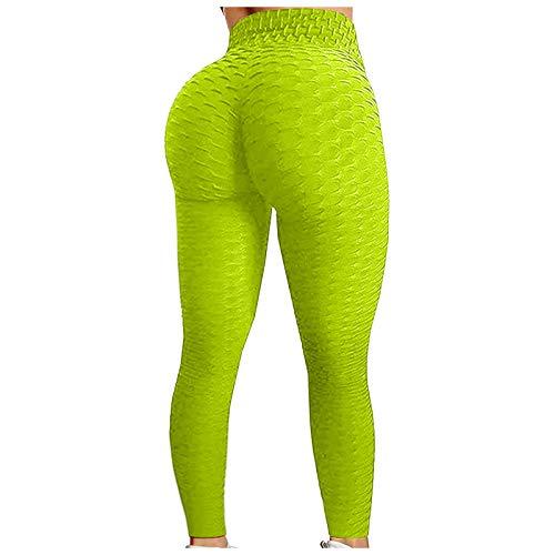 Justwide Ejercicio De Levantamiento De Cadera con Burbujas Pantalones De Yoga De Cintura Alta Leggings Push Up Mujer Mallas Pantalones Deportivos (A-Amarillo,L)