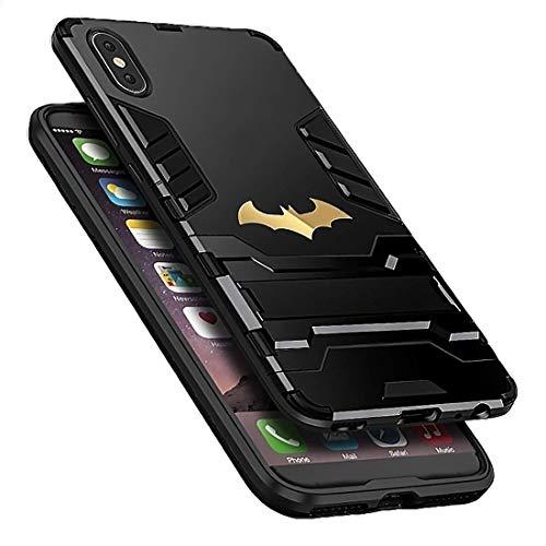 Power Armor Super Bat Hero Man Maximum 360 Full Protection Stand Anti Knock Hybrid Case for iPhone X 7 8 6 6s Plus XS (Black, iPhone Xs Max)