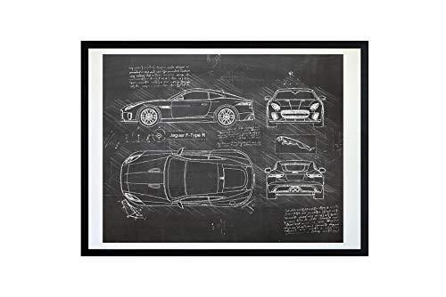 DolanPaperCo #436 Jaguar F-Type R (2017) Art Print Art Print, da Vinci Sketch - Unframed - Multiple Size/Color Options (17x22, Blackboard)