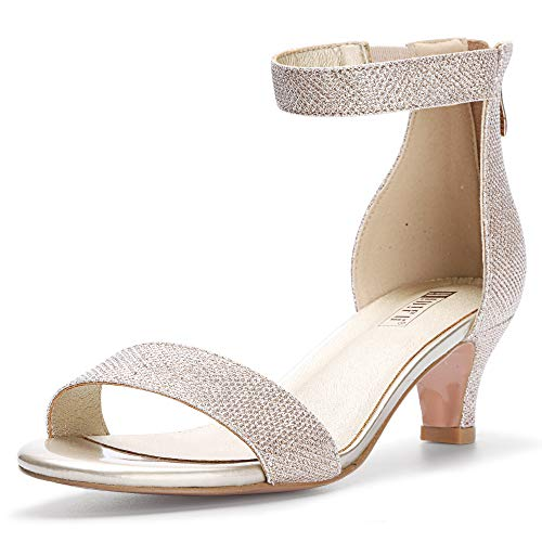 IDIFU Women's IN2 Slim Fashion Stilettos Ankle Strap Open Toe Pump Heeled Sandals Kitten Heel Party Shoes with Zipper (9 M US, Gold Glitter)