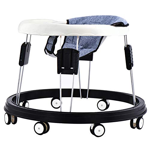 Adjustable Height Baby Walkers for Boys and Girls with Easy Clean Tray and 8 Universal Wheels, Anti-Rollover Folding Toddler Walker for Baby 6-18Months (Flax Gray Cushion)