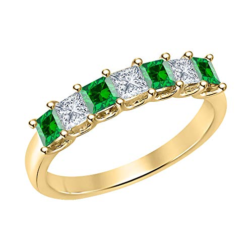 (Princess Cut Emerald & Diamond Half Eternity 14k Yellow Gold .925 Sterling Silver Wedding 7-Stone Band Ring for Women)