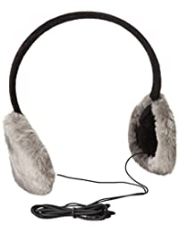 Gabriella Women's Faux Fur Earmuffs with Built-In Headphones, Solid Grey, One Size