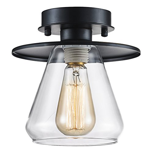 SereneLife Home Lighting Fixture - 6.1'' x 5.9'' Dome Shaped Sculpted Glass Lamp Shade Compact Ceiling Light Accent, Semi Flush Mount with ETL Rated Single Screw-in Bulb Socket ()