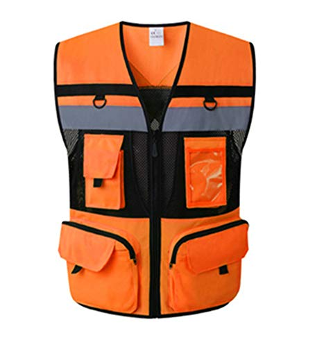 - Hogear 11 Pockets Class 2 High Visible Reflective Safety Vest Breathable and Mesh Lining Workwear (M-2XL, Yellow Black) (Large, Orange)