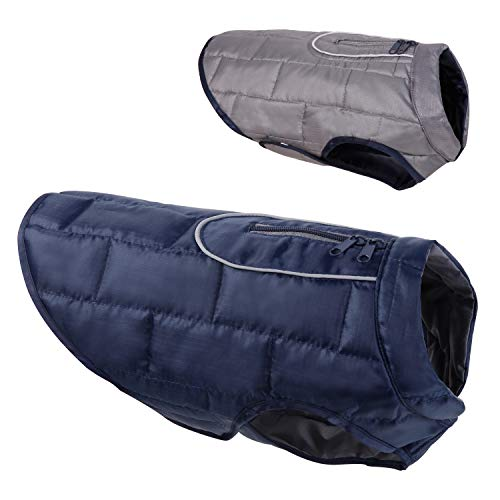 (HAOCOO Dog Jacket, Reversible Dog Coat Waterproof Keep Warm in Cold Winter Dog Clothes Vest with Reflective Trim (S, Navy/Charcoal))